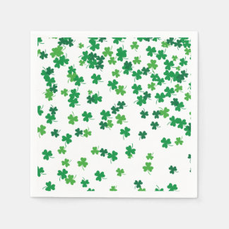 St Patricks Day Lucky Shamrock Pattern Paper Napkin