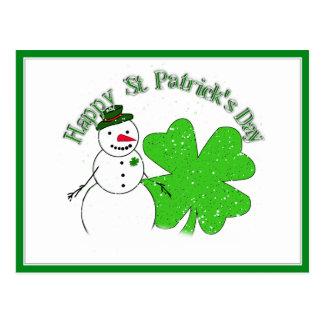 St Patrick's Day Lucky Snowman Postcard