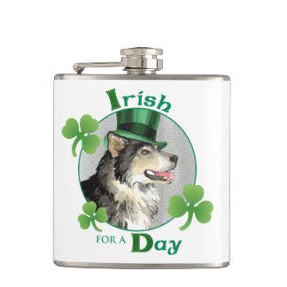 St. Patrick's Day Malemute Hip Flask