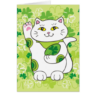 St. Patrick's Day Maneki Neko (Lucky Cat) Card