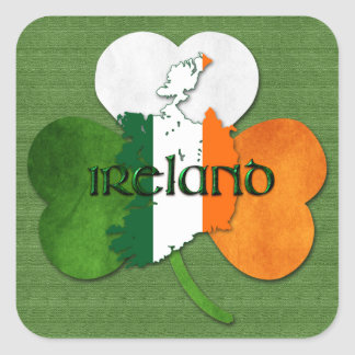 St. Patrick's Day Map of Ireland/Clover Square Sticker