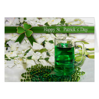 St. Patrick's Day - Mug with Green beverage -Beads Card