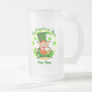 St Patrick's Day  New York Frosted Glass Beer Mug