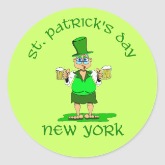 st patricks day new york gladys classic round sticker