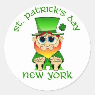 St Patricks Day ~ New York lil Blarney Round Sticker