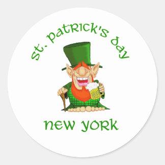 St Patrick's Day ~ New York  Patty O party Classic Round Sticker