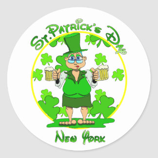 St Patrick's Day New York Round Sticker