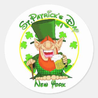 St Patrick's Day New York Round Stickers