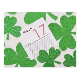 St. Patrick's Day on a calendar page Postcard