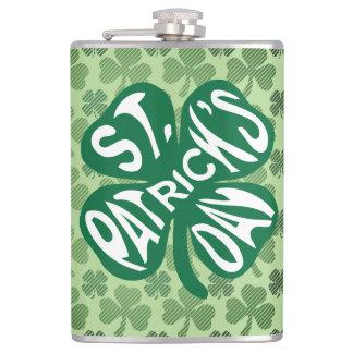 St Patrick's Day on Shamrock Clover Hip Flask