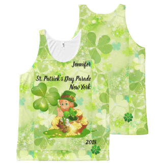 St. Patrick's Day Parade YOUR NAME & CITY & YEAR All-Over Print Singlet