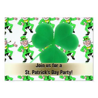 St. Patrick's Day Party Leprechauns Shamrock 13 Cm X 18 Cm Invitation Card
