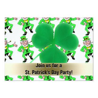 St. Patrick's Day Party Leprechauns Shamrock 5x7 Paper Invitation Card