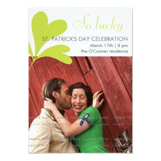 St Patricks Day Party Lucky Shamrocks Green Photo Card