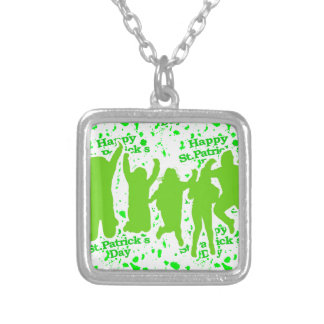 St Patricks Day Party Poster Silver Plated Necklace