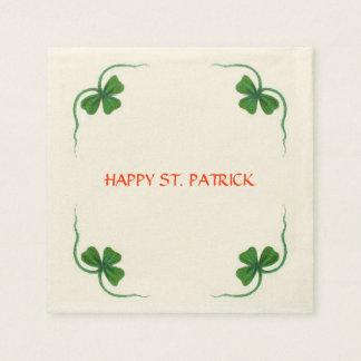 ST PATRICK'S DAY PARTY shamrock white green Paper Napkin