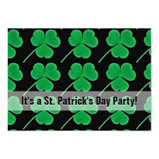St. Patrick's Day Party Shamrocks Green and Black 13 Cm X 18 Cm Invitation Card