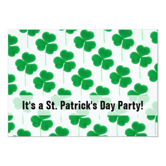St. Patrick's Day Party Shamrocks Green and White 13 Cm X 18 Cm Invitation Card