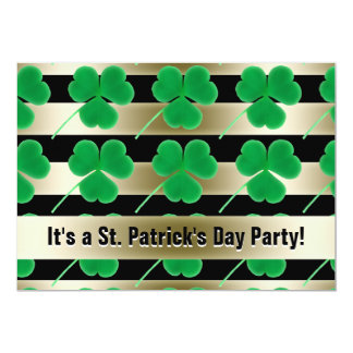St. Patrick's Day Party Shamrocks Green Gold Black 13 Cm X 18 Cm Invitation Card