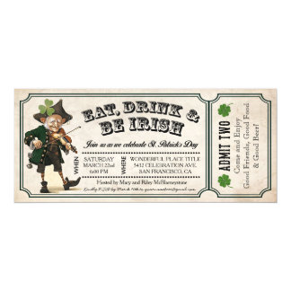 St. Patrick's Day Party Vintage Ticket Invitations