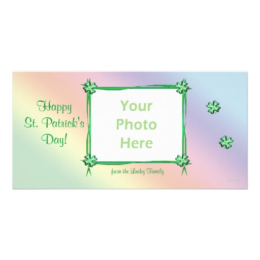 St. Patrick's Day Pastel Rainbow Photo Card Template