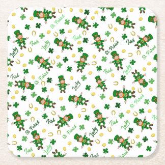 St Patricks day pattern Square Paper Coaster