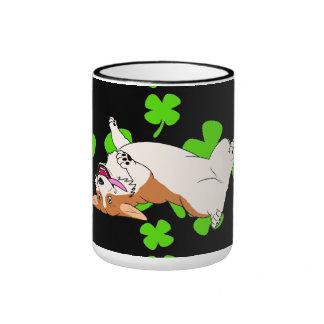 St Patrick's Day Pembroke Welsh Corgi Cartoon Ringer Mug