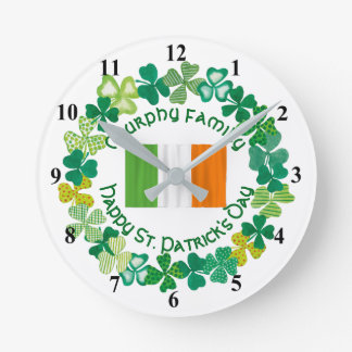St. Patrick's Day Personalized Family Round Clock