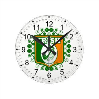 St Patricks Day Pipe Round Clock