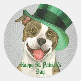 St. Patrick's Day Pit Bull Round Sticker