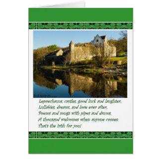 St. Patrick's Day Poem with Castle & Shamrocks Card