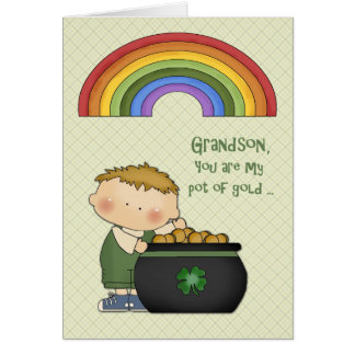 St. Patrick's Day, Pot of Gold, Grandson Card