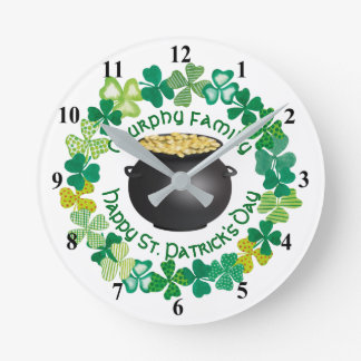 St. Patrick's Day Pot Of Gold Personalized Family Round Clock