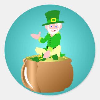 St. Patrick's Day Pot of Gold Round Sticker