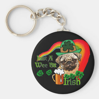 St. Patrick's Day Pug Basic Round Button Key Ring
