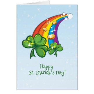 St. Patrick's Day, Rainbow, Shamrocks, Gold Coins Card