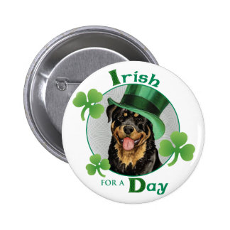 St. Patrick's Day Rottweiler 6 Cm Round Badge