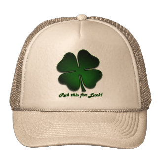 St. Patricks Day, Rub this for Luck! Mesh Hats