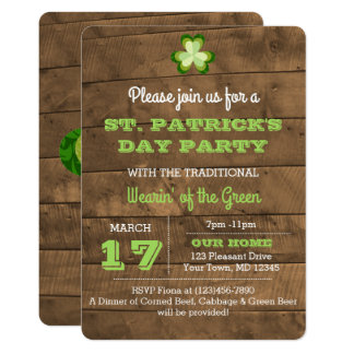 St. Patrick's Day Rustic Party Invitation