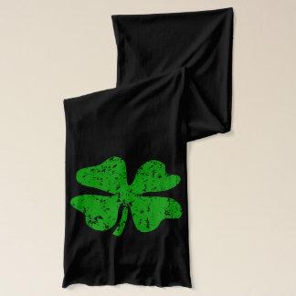 St Patricks Day scarf with green shamrocks
