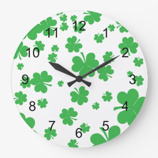 St Patrick's Day Scattered Clover clock