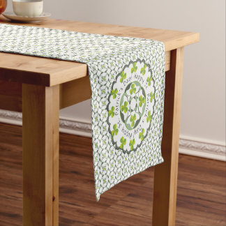 St. Patrick's Day Shamrock Celtic Inspired Pattern Short Table Runner