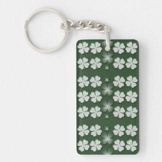 St Patricks Day shamrock clover pattern Single-Sided Rectangular Acrylic Key Ring