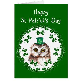 St. Patrick's Day Shamrock Cute Owl wisdom & Luck Card