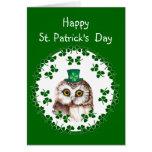 St. Patrick's Day Shamrock Cute Owl wisdom & Luck Greeting Card