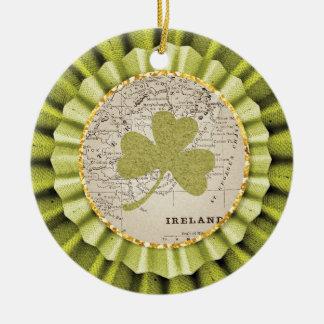 St. Patrick's Day Shamrock Leaf Ornament Round Ceramic Ornament