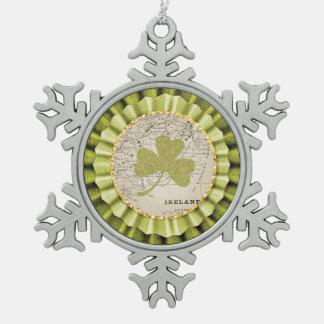 St. Patrick's Day Shamrock Leaf Ornament Pewter Snowflake Ornament