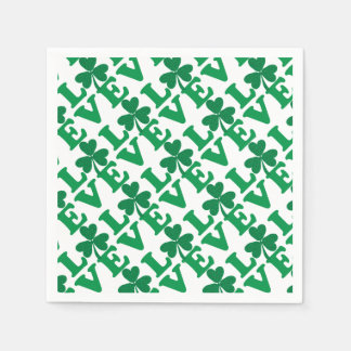 St. Patrick's Day Shamrock Love Paper Serviettes