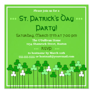 St. Patricks Day Shamrock O' Plenty Party 13 Cm X 13 Cm Square Invitation Card