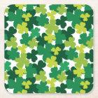 St. Patrick's Day Shamrock Pattern Square Paper Coaster